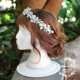 Larissa Silver leaf crown - crystal rhinestones with hints of aqua and pearl.