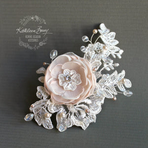 Laura Lace Bridal flower hairpiece - hint of blush pink - Custom colors to order