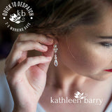 Lauren drop crystal pearl earrings -  SILVER, ROSE GOLD OR GOLD (7 PEARL COLORS AVAILABLE)