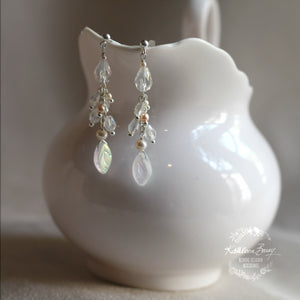Alexa leaf drop earrings opalescent crystal and pearl detailing silver