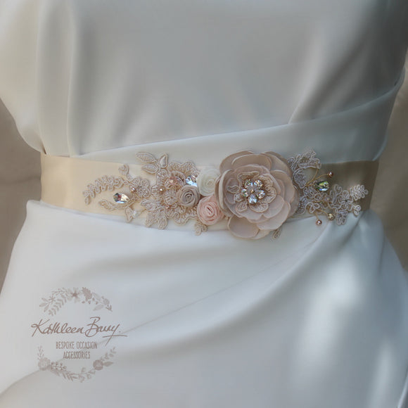Leanne Wedding Dress Sash/Bridal belt in Blush pink and nude tones with luxury fabric flowers, rhinestone and lace detail - rose gold