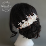 Lee Floral Lace Rose Gold Bridal hair veil comb, Luxury handmade flowers, Crystals and Pearls, Wedding hair accessories