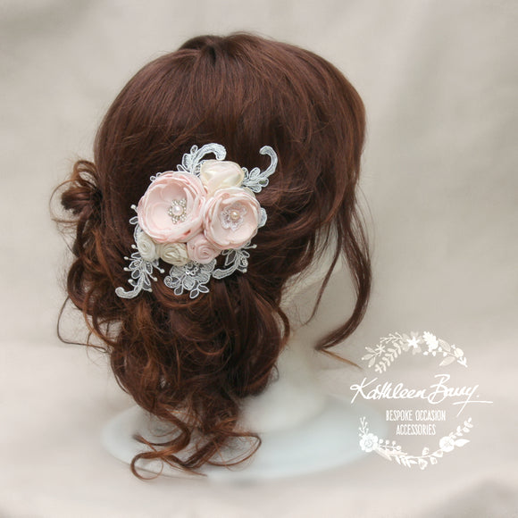 Liesl Bridal Hairpiece - floral veil comb - wedding hair accessory - blush pink ivory - colors to order