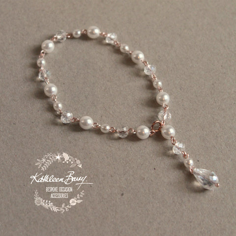 Lillian Rose Gold, Crystal & Pearl Bracelet - Available in Rose Gold, Gold or Silver