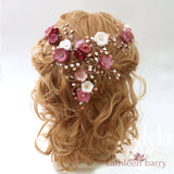 Lily Bridal Hair Crown Wreath Vine in Gold & Blush Pink tones - Wedding Accessories