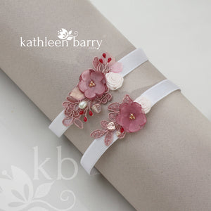 Lily heirloom garter set (or individually) - Dusty pink pomegranate - color options available