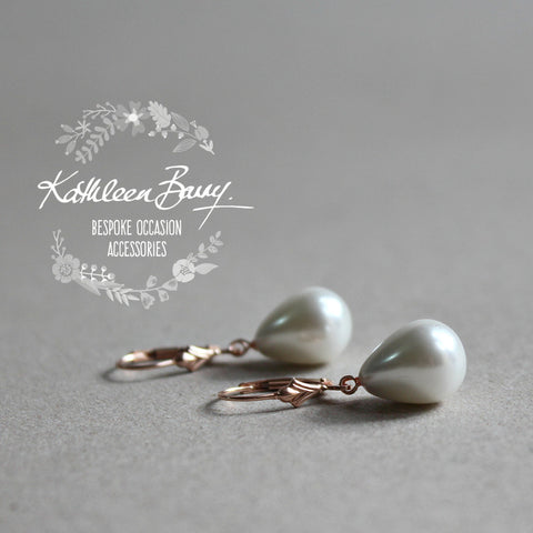 Lisa-Claire Rose gold pearl drop earrings - Available in Rose gold, Gold or silver