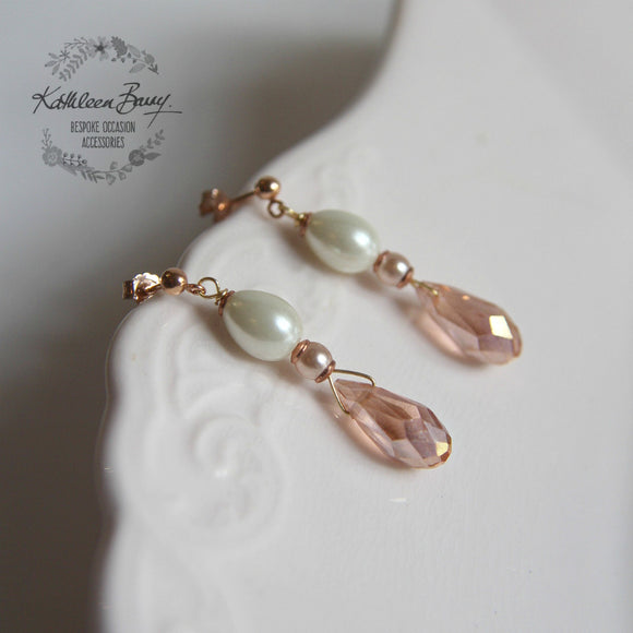 Livia Rose gold blush pink and pearl crystal earrings