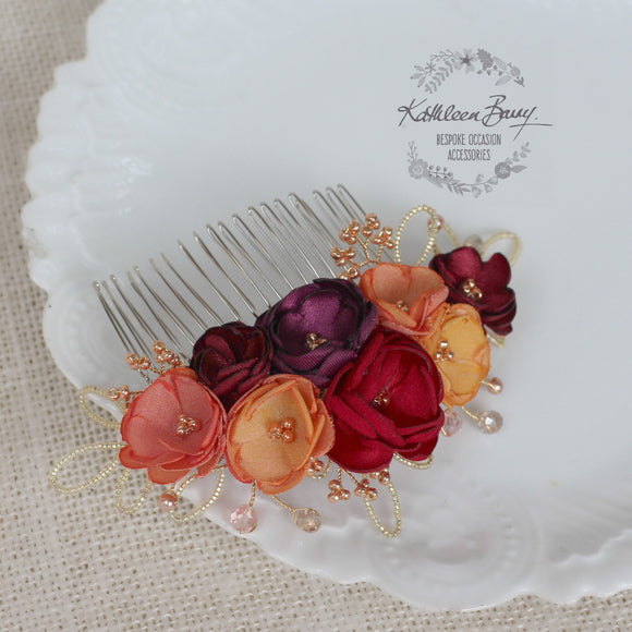 Lize floral hair comb - Autumn shades - Handmade fabric flowers rose gold elements