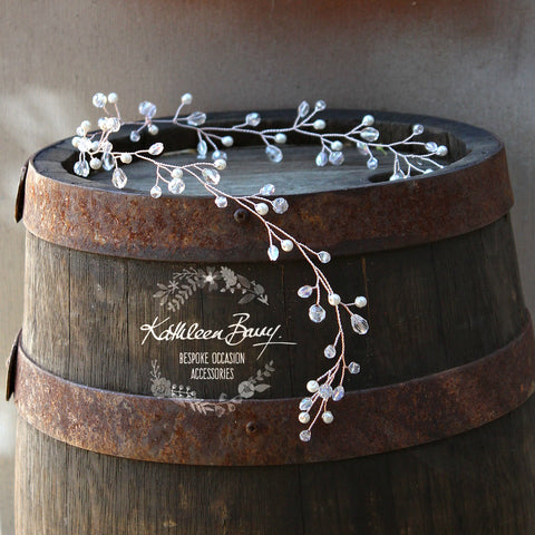 Louise crystal pearl hair vine : Variations Rose gold, gold or silver plated