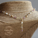 Lounette Pearl & Crystal Necklace - Color Options Available