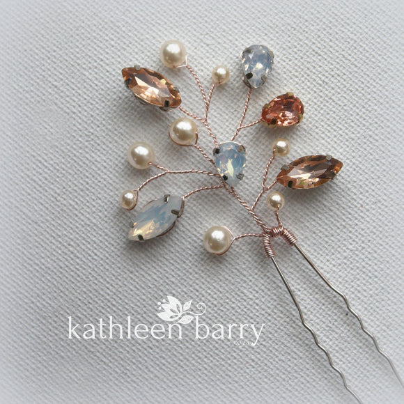 Lucia crystal rhinestone and pearl hair pin - Color options available (2-tone or single)
