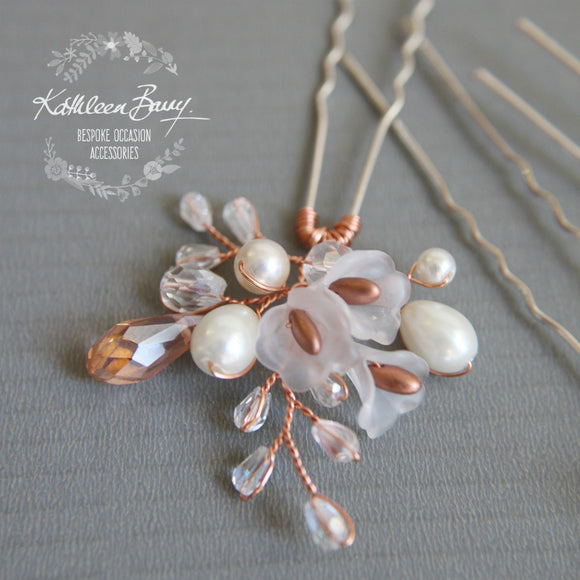 Jana bridal hair pin, Lucite flower crystal and pearl, Rose Gold, Silver, Gold Options - Sold Individually