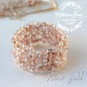 Mandy crystal pearl cuff bracelet - Available in Gold, Silver or Rose Gold
