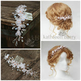 Marissa floral hair comb vine style hairpiece assorted flower colors & finishes