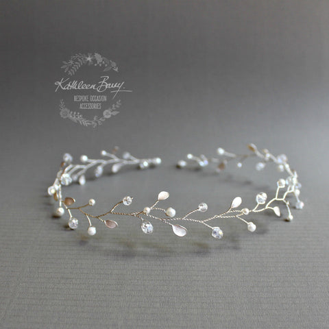 Maryke vine style wreath wedding hair accessory - available in silver or gold