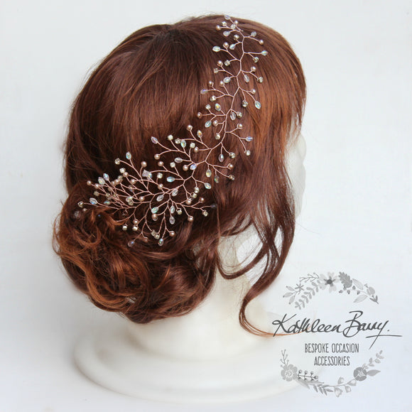 Mich Hairpiece hair vine - Rhinestones, crystal & Pearl - Available in Silver, gold and rose gold