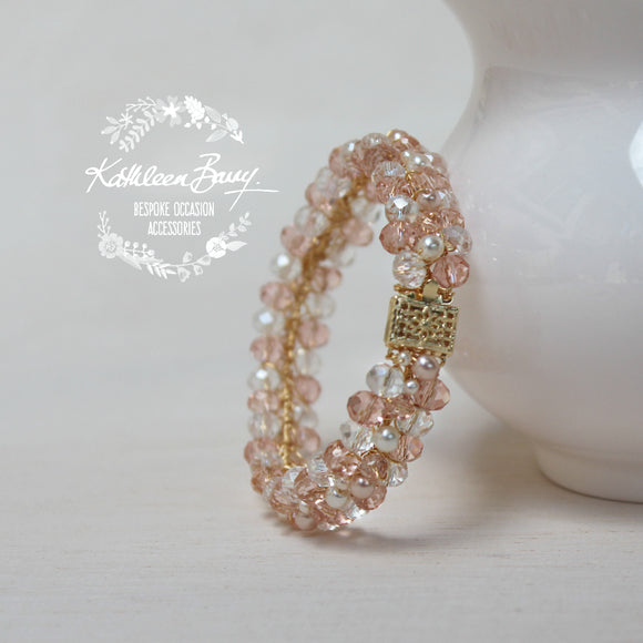 Michelle Bracelet - Crystal & Pearl Bracelet - Blush pink and Ivory