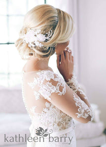 Carmen Lace bridal hairpiece clip  - Lace, pearl and metallic color options available