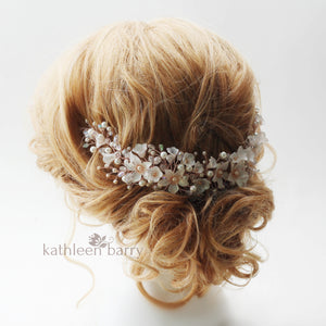 Monica floral crystal and pearl vine style hairpiece - Rose gold, gold or silver