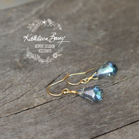 Monique Earrings - Gold, rose gold or silver finish - Denim blue crystals or Champagne