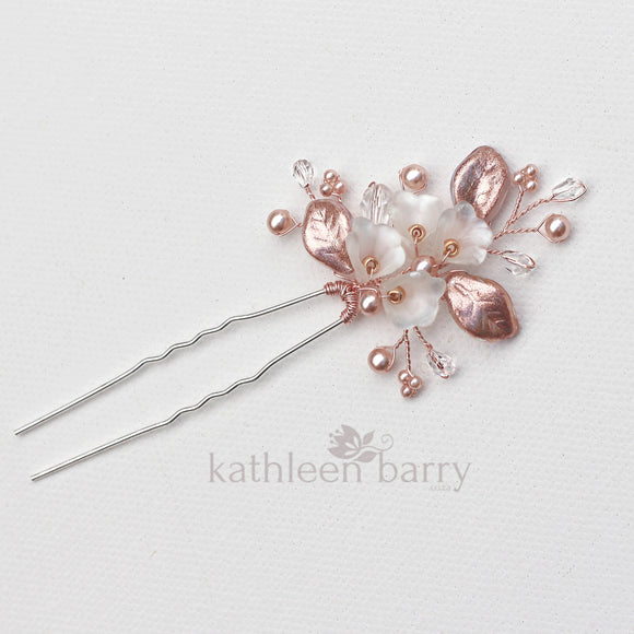 Nadine Floral leaf hair pin crystal & pearl - Rose gold, gold or silver - sold individually