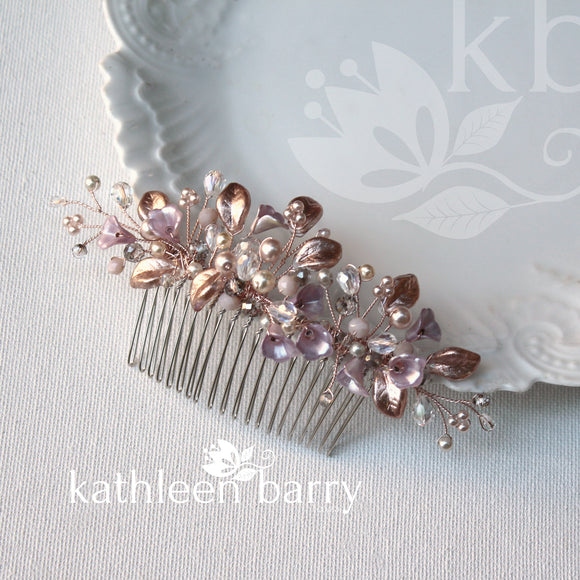 Renice floral leaf hair comb crystal & pearl - color options available