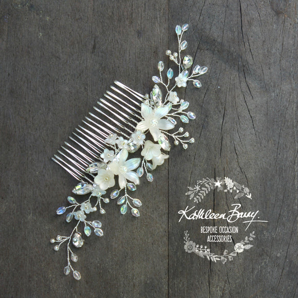 Natalia Floral Spray Crystal, Pearl & Rhinestone Comb - Color options available