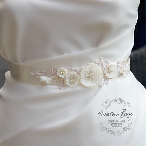Natalie Wedding dress sash belt - floral with lace - ivory - color options available