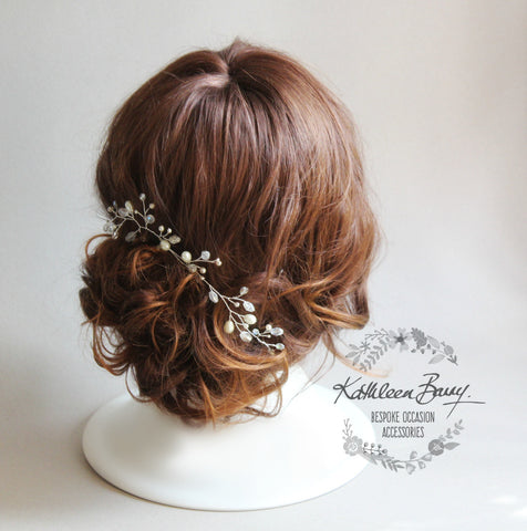 Nikita Crystal Pearl hair pin - Available in Silver, Rose gold or gold finish