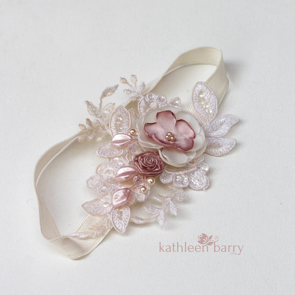 Nitsa Floral lace garter -  Color options available - Main garter only