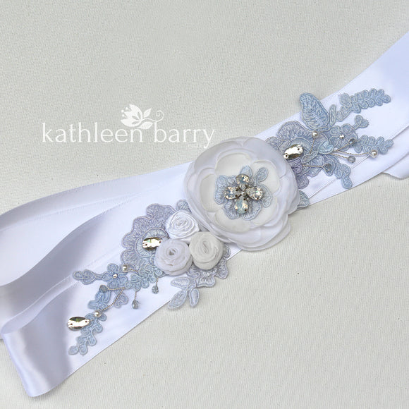 Jess Wedding Dress Sash/Bridal belt - pale blue lavender tones - custom colors available