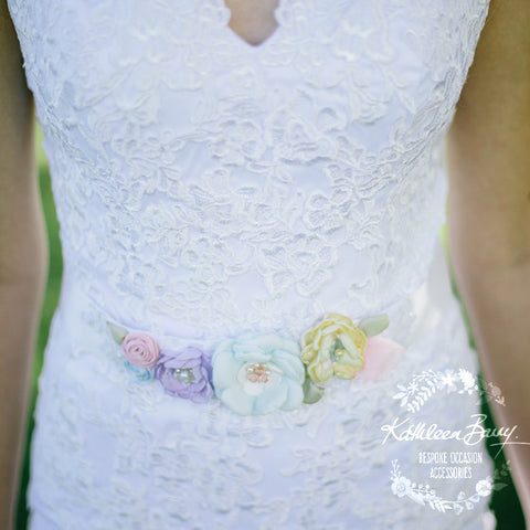 Alice Wedding dress sash belt Pastel shades - floral with lace - sorbet colors - sherbet
