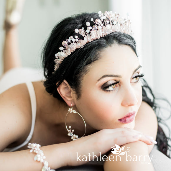 Pastel shades and Rose quartz and pearl crystal crown - Rose gold, gold or silver