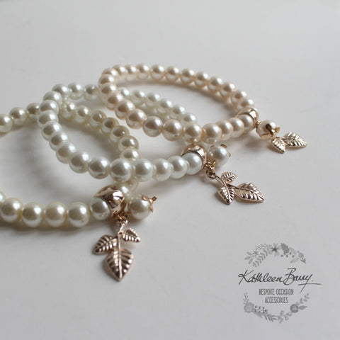 Rose gold and pearl bracelets Bride or Bridesmaid gift available in White, Cream/ivory and Soft blush pink