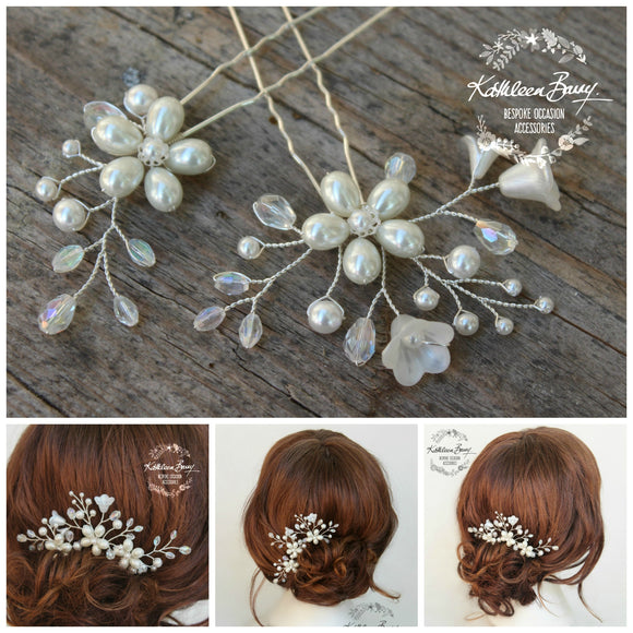 Phia hair pins mix and match - 2 style options - silver, gold or rose gold (sold individually)