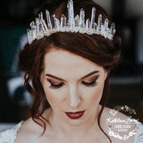 Crystal quartz bridal crown with rose gold, gold or silver wirework
