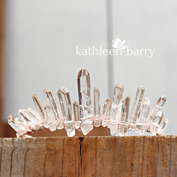 Half size Crystal quartz bridal crown with rose gold, gold or silver wirework (uneven points)