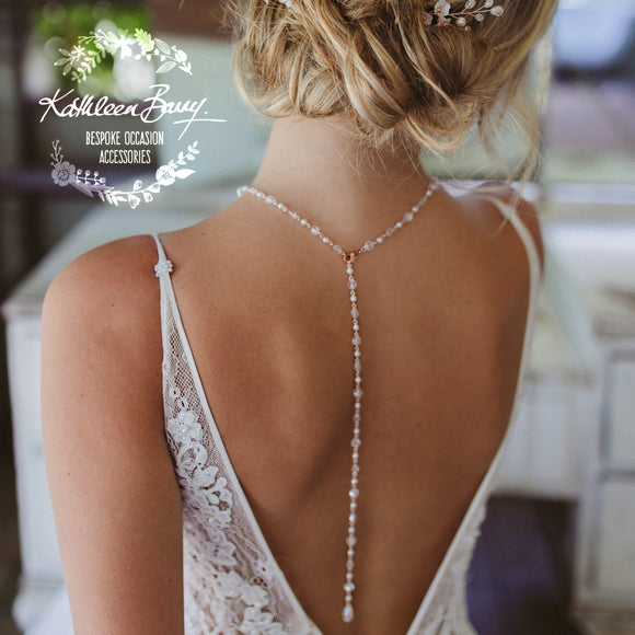 Rachel open back necklace, crystal and pearls - SILVER, ROSE GOLD OR GOLD (7 PEARL COLORS AVAILABLE)