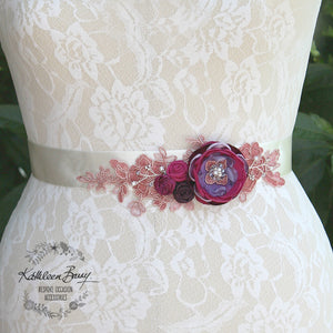 Lisa Wedding Dress Sash Belt - floral with lace - Raspberry Plum