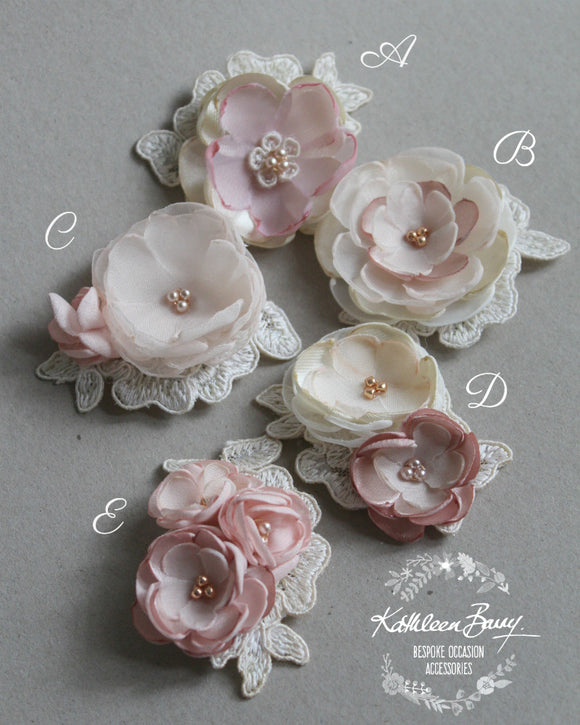 Wedding Dress motifs - Ivory Blush pink rose gold - Retinue brooch option