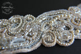 Lace cuff bracelet, crystal pearl with rhinestone detail, hand embellished - ivory & cream