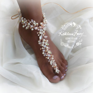 Adele rhinestone, crystal & pearl jeweled barefoot sandals - Rose gold, gold or silver, per Pair