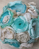 Heirloom Bridal Bouquet, Aqua mint, turquoise, teal, hessian, burlap - Beach wedding