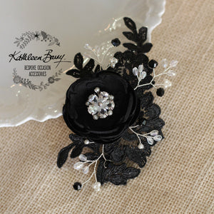 Rosaline Bridal Hair Clip in Black Lace with Cubic Zirconia detail - color options available