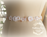 Emily rose gold, lace and rhinestone dainty bridal sash / belt - Also available in gold & Silver