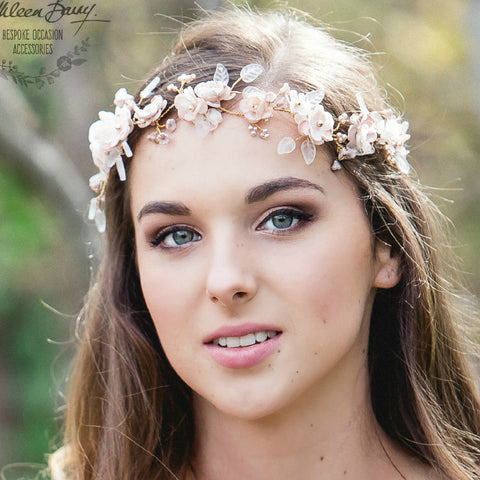 Ariana Rose gold bridal wreath crown flower leaf headband Wedding hair accessory, blush pink and gold hair flowers