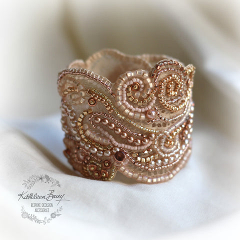 Rose gold lace cuff bracelet - pearl crystal embellished- wedding cuff - bridal accessories - rose gold and blush pink tones - copper tones