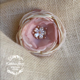 Hair flower, rose gold, brooch, corsage, belt accessory - Dusty pink and champagne, blush pink