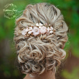 Blush pink and silver floral hair comb - veil comb - Assorted colors and metal finishes
